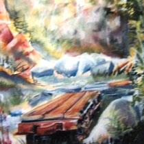 * 345- La carrière de granit du Péchin Vagney,  pastel 50x80 encadré, peinture en direct