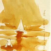 *258- Lavis teinte merisier, la vie autour du lac de Gérardmer, 21x30