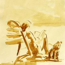 * 276- Lavis teinte merisier, la vie autour du lac de Gérardmer, 21x30