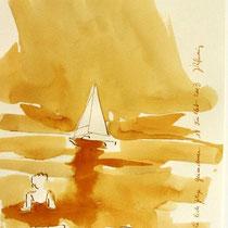 * 693- Dessin lavis réalisé autour du lac de Gérardmer en situation, à la teinture merisier ,sur papier Lana 140 gr