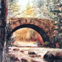 226- Le pont des Fées, sur la Volgne, huile 20x30
