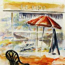 * 214-  Depuis Le Lido à Gérardmer: chaises parasols de la saison 1995, aquarelle 40x50