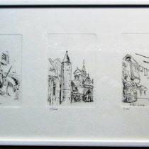 1097-  Gravure,estampe :   Assemblage de 5 gravures sur les Vosges, dont la scierie de Bois de Champ, format 85 x 30