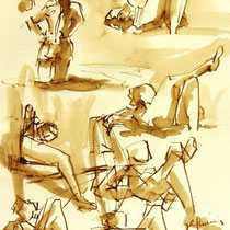 *262- Lavis teinte merisier, la vie autour du lac de Gérardmer, 21x30