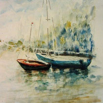 187- Le Lido; bateaux amarrés aquarelle 50 X 70 , peint en direct