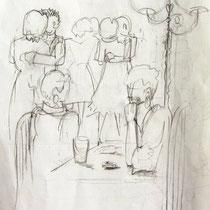 * 1122- Dessin de danseurs à La Croisette d'Hérival de Remiremont, lavis d'encre de chine;