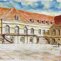 137-Le Château de St-Rémy Haute-Saône, aquarelle 100 X 50. Association Hospitalière de Franche-Comté.