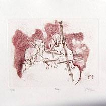 Gravure,estampe musique : *1000- Trio, Contrebasse, violons