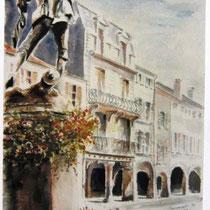 287- Le Vontaire à Remiremont, statue en bronze dominant la rue principale. Aquarelle 50 x 70