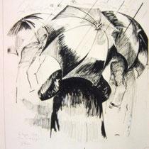 * 220- Les parapluies, encre de chine, 50X 70