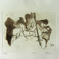 * 993-Gravure,estampe musique :  Trio, Contrebasse, violons