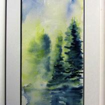 * 201-  Le lac ,aquarelle à l'eau du lac 1 , 70x40  encadré