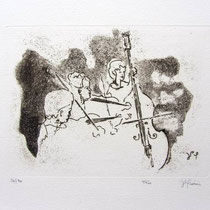 *1007-Gravure,estampe musique :  Trio, Contrebasse, violons