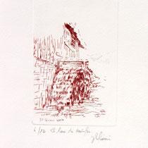 * 371-  Estampe de la roue d'eau du Haut -Fer, vélin d'Arches, 20x30