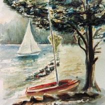 188- Le Lido, la plage aquarelle 50 x 70  ,peint en direct