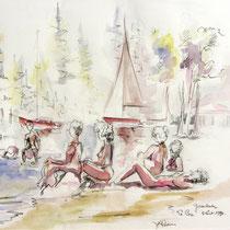 * 211- Le Lido à Gérardmer, la plage, dessin aquarellé, 30 X 40