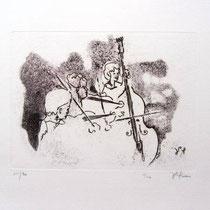 *1006-Gravure,estampe musique :  Trio, Contrebasse, violons