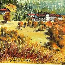 367- Aquarelle bénévole : la maison familiale des ptt à Bussang,pour une carte de voeux, 24x30