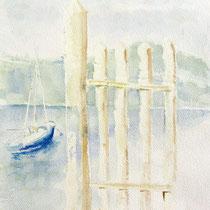 * 215- L'embarcadère du Lido, lac de Gérardmer, aquarelle 50  X70
