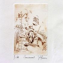 *291-  Le Volontaire à Remiremont, estampe sur vélin d'Arches 20 x  30