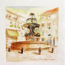 *309-  La fontaine des Dauphins, aquarelle 40x40