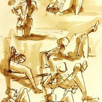 * 697- Dessin lavis réalisé autour du lac de Gérardmer en situation, à la teinture merisier ,sur papier Lana 140 gr