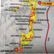 Carte indiquant le départ de la route des vins d'Alsace,depuis la porte Sud à Thann.