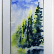 * 202-  Le lac ,aquarelle à l'eau du lac 2, 70x40  encadré