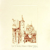 * 1076-  Gravure,estampe :   La Basilique St-Maurice d'Epinal