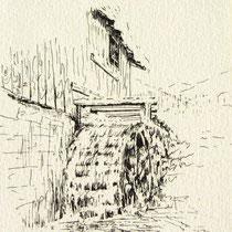 369- La roue d'eau du haut-fer, Carte réalisée bénévolement au profit du Téléthon 1993, d'après mon dessin à l'encre de Chine