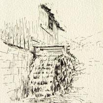 * 1098-  Gravure,estampe :   La roue d'eau du haut-fer, carte postale faisant partie d'une pochette de 5, vendues en 1993 au profit du Téléthon.