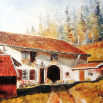 237- Une ferme vosgienne à Lièzey, huile 20x30