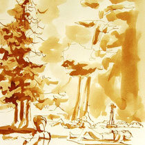 *261- Lavis teinte merisier, la vie autour du lac de Gérardmer, 21x30