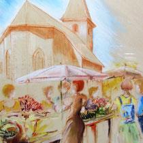 * 361 -Le Haut-du-Tôt, lors de la fête des plantes, pastel 50x70. Réalisé sur place.