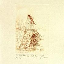 *376-  Estampe de la roue d'eau du Haut -Fer, vélin d'Arches, 20x30