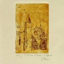 * 1073-  Gravure,estampe :   La Basilique St-Maurice d'Epinal
