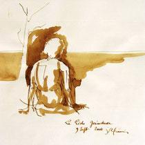 * 707- Dessin lavis réalisé autour du lac de Gérardmer en situation, à la teinture merisier ,sur papier Lana 140 gr