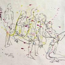 *457- Nus enchaînés ! dessin aquarellé réalisé en direct sur le modèle, 30 x 40