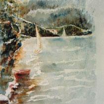 189- Le Lido,la plage aquarelle 50 x 70 , peint en direct