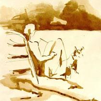 * 712- Dessin lavis réalisé autour du lac de Gérardmer en situation, à la teinture merisier ,sur papier Lana 140 gr