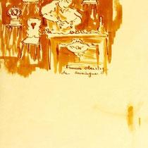 * 472- Lors d'une exposition de peinture à Thann, animation d'artistes et d'artisans,  21 x 30, lavis merisier, 21 x 30