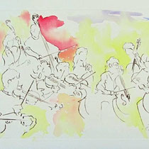 * 449- L'orchestre à cordes d' Épinal, gravure aquarellée 85x33