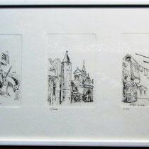 327- Remiremont et Dommartin-lès-Remiremont : 2 des 5 estampes figurant sur la bande Vosges