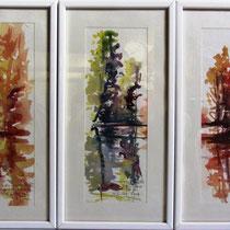 * 338-  Reflets d'eau aux 3 saisons,chaque aquarelle mesure 20x40