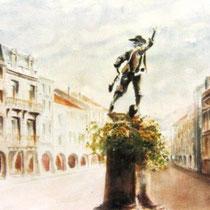 288- La statue du Volontaire et la rue principale de Remiremont. Aquarelle 50x70