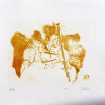 Gravure,estampe musique : * 996- Trio, Contrebasse, violons