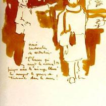 * 476- Lors d'une exposition de peinture à Thann, animation d'artistes et d'artisans, 21 x 30, lavis merisier