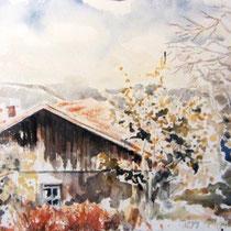 243- Ferme à Lièzey, aquarelle 50x70
