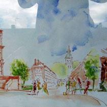 493 -St-Dié, en direct, lors d'une journée des peintres dans la rue.