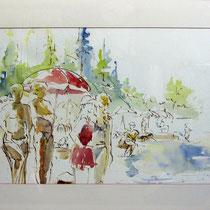 * 208- La plage du Lido ,lac de gérardmer ,aquarelle encadrée 50 X 70